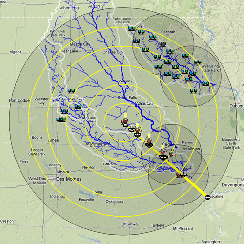 IFloodS map showing instrument location, including radar antennae, rain gauges and soil moisture probes.