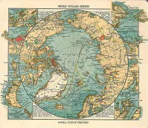 Nord Polar Meer, Justhus Perthes See Atlas 1906 Good map of the Arctic, with inset maps of Drontheim, Drontheim fjord, Jan Mayen, Bering strait, Reykjavik, Hammerfest, Plover Bay, Nordkap, Nowaja zemlja.