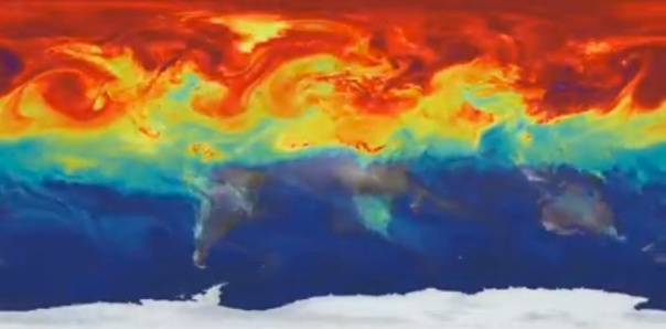 A NASA video of a computer carbon dioxide model colors the gas as it's released and circulated around the planet.