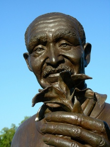 Detail from a statue of Carver at the George Washington Carver Garden in the Missouri Botanical Garden.