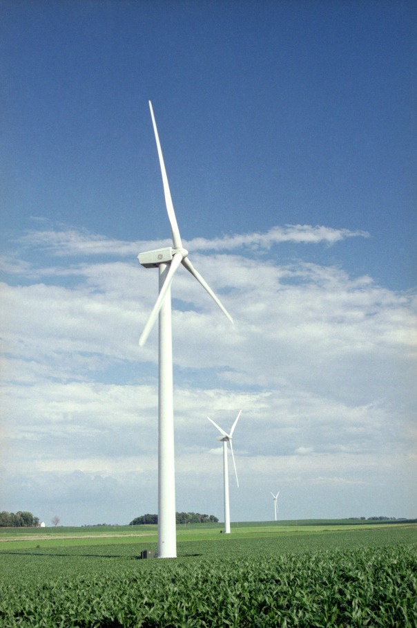 he corn beneath these MidAmerican Energy wind turbines near Blairsburg isn't yet quite as high as an elephant's eye. When the stalks reach maturity, their roughness can cut wind speed (and power production) at the turbine's hub, hundreds of feet up.