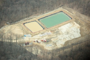 Ponds of wastewater from hydraulic fracturing in Washington County, Pennsylvania, on the Marcellus Shale formation.