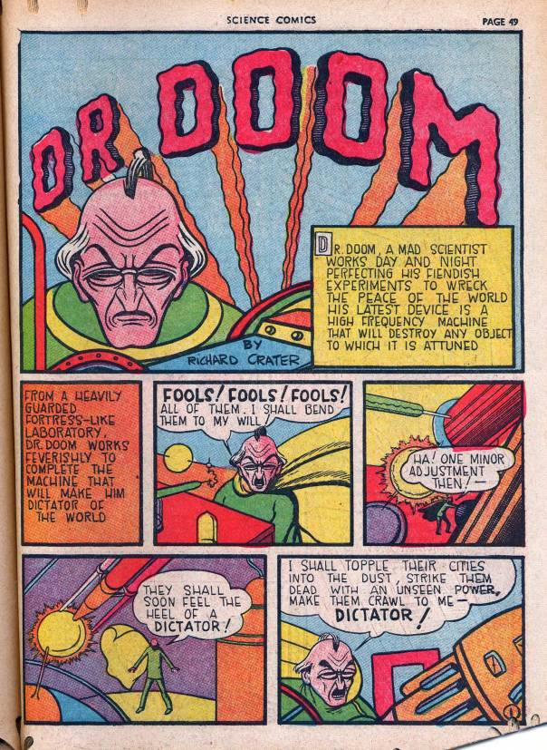 """Dr. Doom"" menaces the world, from Science Comics, April 1939, via the Digital Comics Museum."