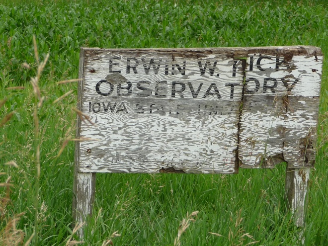 The deteriorating sign marking the entrance to ISU's Fick Observatory southwest of Boone.