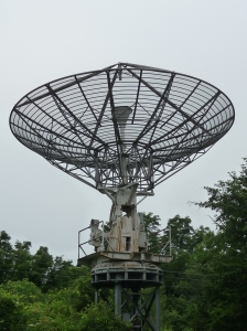 The defunct radio telescope at ISU's Fick Observatory.