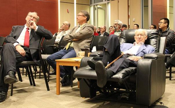 Ames Laboratory's Karl Gschneidner taking in the talks at the colloquium in his honor last month. Ames Laboratory photo.