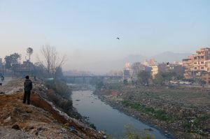 Overlooking the garbage-littered Bagmati river bed near Kathmandu.