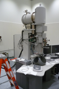Another look at the transmission electron microscope that was moved to the SIF from the ISU campus. The main tower is where electrons are fired down and focused through apertures and lenses to the sample below, where the eyepieces are located.