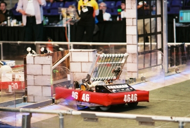 ASAP's Sherman negotiates the sally port obstacle during FRC competition on the University of Northern Iowa campus in Cedar Falls, Iowa.