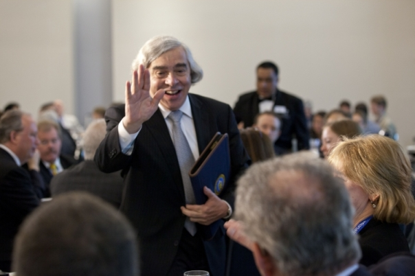 Secretary of Energy Ernest Moniz greeting friends on his first day on the job, May 2013. Credit: U.S. Department of Energy