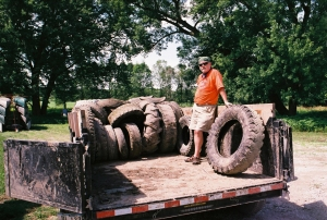 A few of the tires pulled from the lower Des Moines River in one morning.