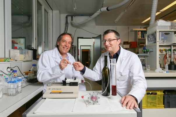 Phillippe Renaud, left, and Daniel Attinger make a tiny toast with wine from Attinger's microfluidics fermenter, front and center.