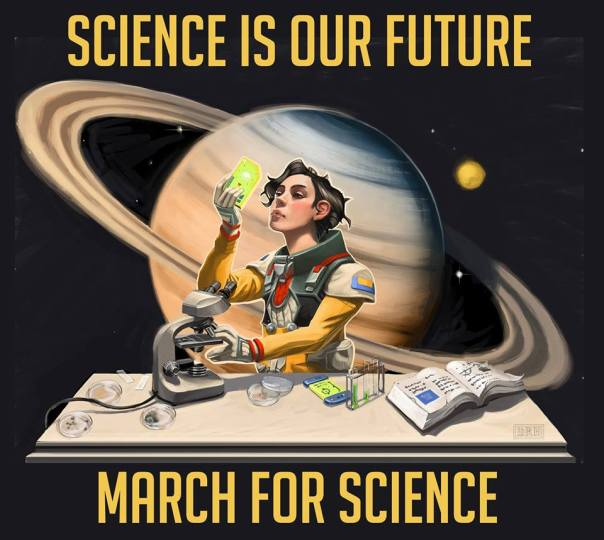 A March for Science Iowa comic by designer Miles Greb (@goldrushcomic) via the March for Science Iowa Facebook page. I think the model looks like a dark-haired Scarlett Johanssen.