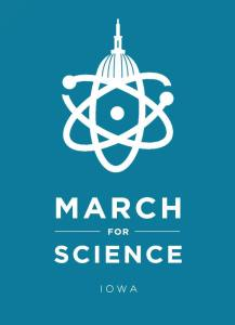 Iowa's take on the official March for Science logo.