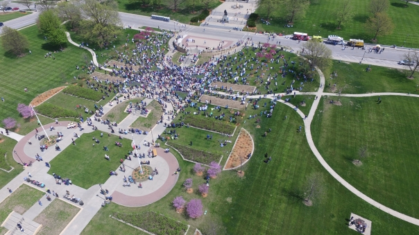 Aerial view of the March for Science Iowa crowd, via drone. Credit: Thomas Critelli O'Donnell.