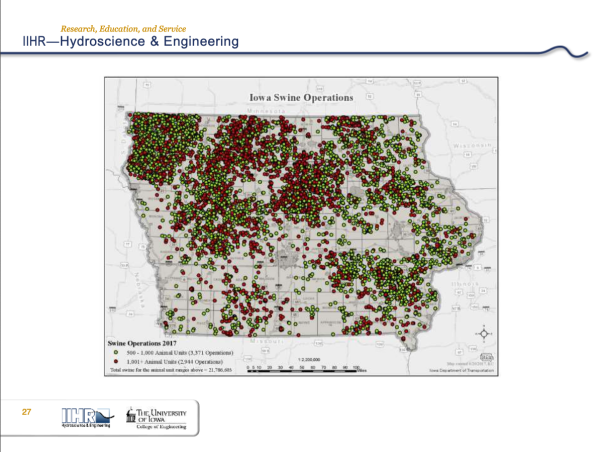 A map of swine feeding operations in Iowa, with a big concentration in the state's northwest corner.