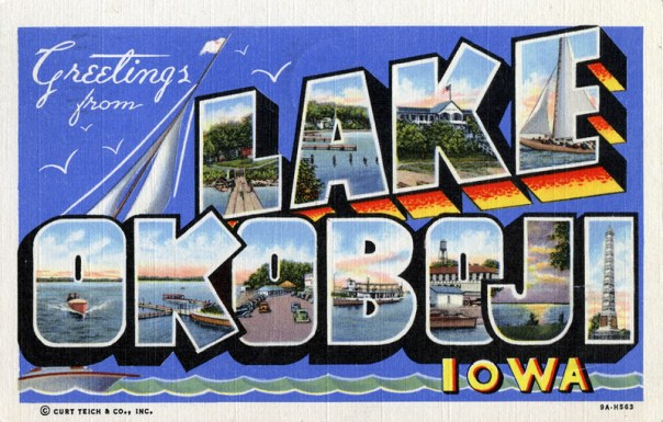 Antique postcard saying Greetings from Lake Okoboji, Iowa